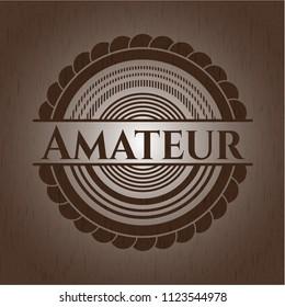 Amateur retro style wooden emblem