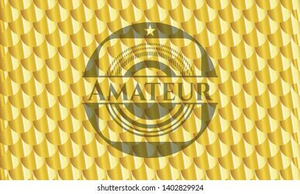 Amateur shiny golden emblem. Scales pattern. Vector Illustration. Detailed.