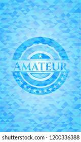 Amateur sky blue emblem with mosaic background