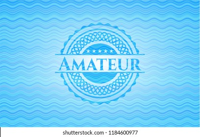 Amateur sky blue water wave emblem.
