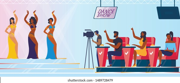Amateur Talent Contest Flat Vector Illustration. Young Dancers Group and Judges Sitting in Chairs Cartoon Characters. Women in Elegant Dresses Perform Belly Dance, Oriental Artistic Number