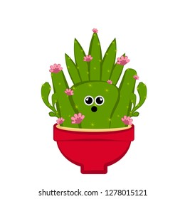 Amazed cactus with floers in a pot. Vector illustration design