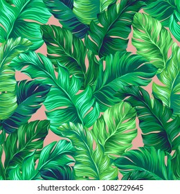 amazing banana leaf pattern. Seamless vector tropical design with vertical layout. Perfect for interior design, wallpaper, fashion. Juicy leafy pattern with palm leaves.