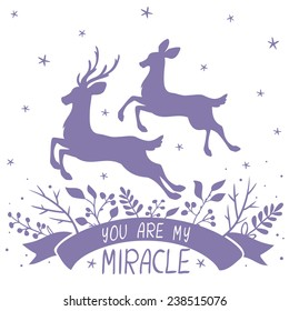 amazing card with silhouettes of beautiful couple deer