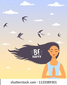 Amazing cartoon girl with long hair. Young and happy woman meditates. Vector illustration