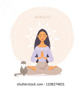 Amazing cartoon girl in yoga lotus pose with cute cat. Practicing yoga. Vector illustration. Young and happy woman meditates.