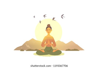 Amazing cartoon girl in yoga lotus practices meditation on nature. Practice of yoga. Vector illustration. Young and happy woman meditating