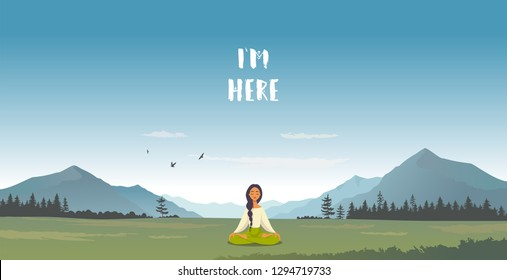 Amazing cartoon girl in yoga lotus practices meditation in mountains. Practice of yoga. Vector illustration. Young and happy woman meditating