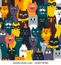 Amazing cats seamless pattern. Endless colorful background with crowd of domestic and wild animals. Vector illustration best for fabric, wrapping paper and artistic cover.