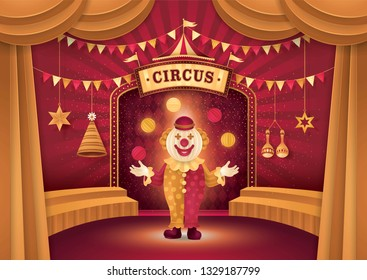 Amazing Circus show, Funny Clown Show, Man Juggling Balls, Gold Curtains stage with Circus Frame, triangle bunting flags, Carnival Fun Fair, Day Scene festival, Paper art vector and illustration