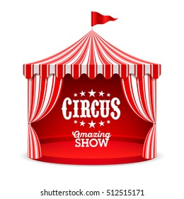 Amazing Circus Show poster. Circus tent vector illustration.