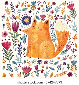Amazing colorful Art vector Illustration with cute Fox and flowers for for design and decor. Impressionism style. Hand drawn vector pattern hand painted