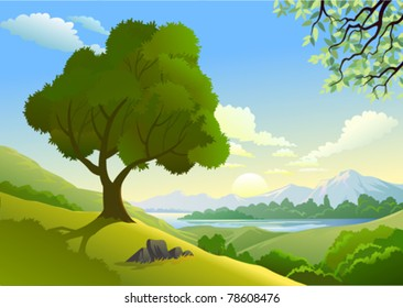 Amazing  Country Side And a Lonely Tree By Lake