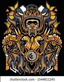 amazing dark tiger biker sacred geometry background for t shirt , poster, stiker design