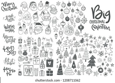 Amazing doodle icons collection. Hand kids drawn sketches. Christmas trees, gift box, star, Santa face, decorations, hand lettering compositions. Big set.
