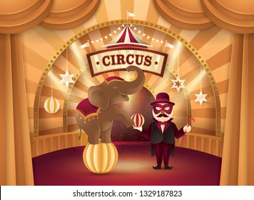 Amazing Elephant Circus show, Cute Elephant on the ball and Performer Controlling with Ball, Gold Curtains stage with Circus Frame, bunting flags, Animal Fun Fair, Carnival festival,Paper art vector
