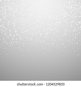 Amazing falling stars Christmas background. Subtle flying snow flakes and stars on light grey background. Alive winter silver snowflake overlay template. Imaginative vector illustration.