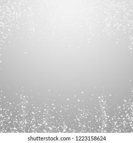 Amazing falling stars Christmas background. Subtle flying snow flakes and stars on light grey background. Adorable winter silver snowflake overlay template. Cute vector illustration.