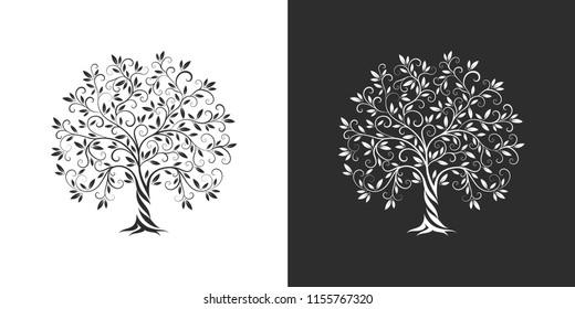 Amazing, fashion, elegant olive tree logo silhouette badge set isolated on white and dark background. Premium quality natural, virgin, green plant organic logotype sign emblem illustration design.
