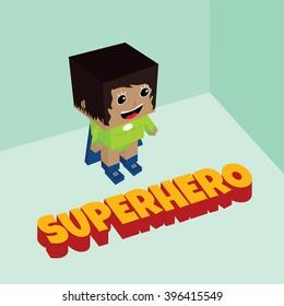 amazing female superhero - isometric block theme