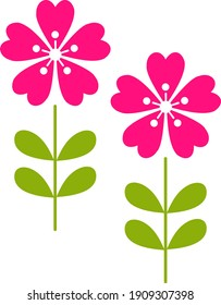 amazing flat styled colorful flowers with leaves plat sprout concept