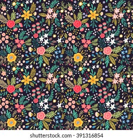 Amazing floral pattern with bright colorful flowers, plants, branches and berries on a black background. Seamless floral pattern. The elegant the template. For your design with love.