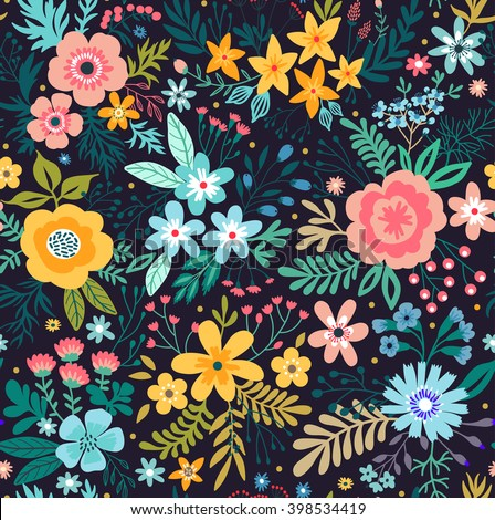 Amazing Floral Pattern Bright Colorful Flowers Stock Vector Royalty