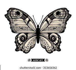 "Amazing fly butterfly ""Inachis io"", wildlife insect, dots spiral circle. Creative bohemia concept for wedding invitations, cards, tickets, congratulations, branding, logo, label Black and white, beige"