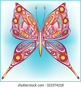 Amazing fly butterfly. Vector. Creative bohemia concept for wedding invitations, cards, tickets, congratulations, branding, logo, label.