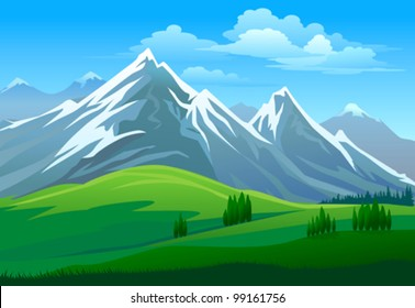 AMAZING GLACIERS ON MOUNTAIN AND GREEN VALLEY