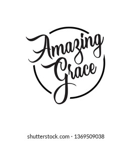 amazing grace lettering. Quotes. vector vintage illustration. isolated on white background