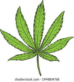 Amazing hand drawn vintage cannabis icon logo vector high resolution