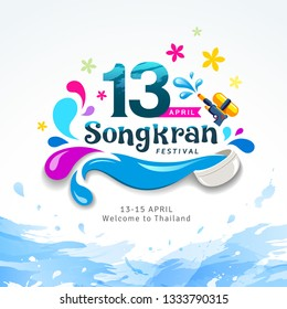 Amazing Happy Songkran festival sign of Thailand design water splash background, vector illustration