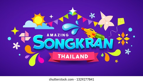 Amazing Happy Songkran Thailand festival message colorful design background, vector illustration