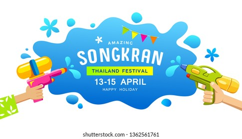 Amazing Happy Songkran Thailand festival gun in hand water splash banners vector design background, illustration