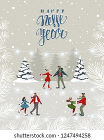 Amazing illustration for Christmas and New Year with couples on skating. Amazing winter holiday card. Vector illustration