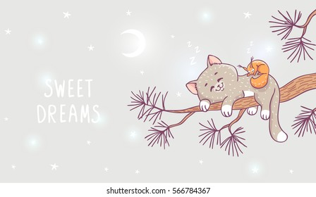Amazing illustration with cute kitten and squirrel sleeping on a branch of pine. Stylish vector illustration. Beautiful cartoon animals.