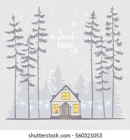 Amazing illustration with house and tall spruce trees in starry night. Gorgeous winter holiday card. Vector illustration. Sweet home