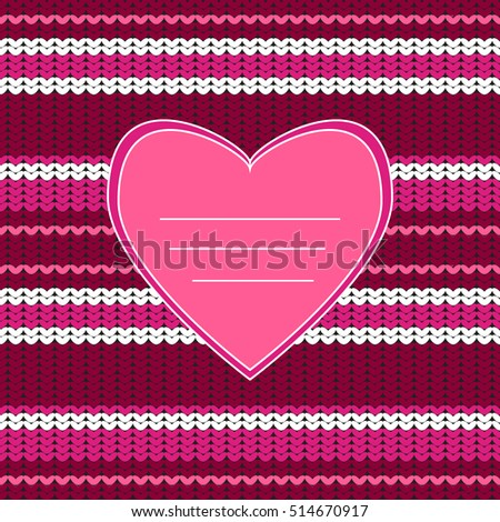 Amazing Knitted Texture Heart Knitting Seamless Stock Vector