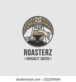 amazing logo emblem for coffee shops, coffee roasting illustrations and a touch of vintage and modern style.