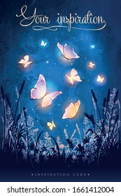 Amazing magical glowing butterflies. Unusual vector illustration. Inspiration for a wedding, date, birthday, tea or garden party.