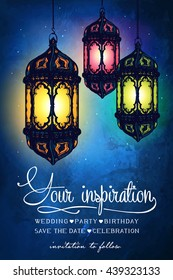 Amazing moroccan vintage lantern at magical night sky background. Unusual vector illustration. Inspiration card. Festive hanging lights. Arabic lamps