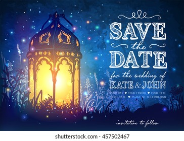 Amazing moroccan vintage lantern on grass with magical lights of fireflies at night sky background. Unusual vector illustration. Inspiration card