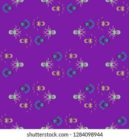 Amazing new animal multicolor childish sea octopus background seamless.