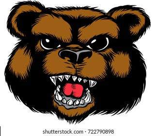 Amazing new, fast and furious Bear head logo, hand drawn digital masterpiece! Modern and professional, team badge design. Premium quality perfect for any wild animal t-shirt illustration.