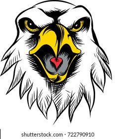 Amazing new, fast and furious Eagle head logo, hand drawn digital masterpiece! Modern and professional, team badge design. Premium quality perfect for any wild animal t-shirt illustration.