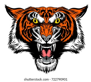 Amazing new, fast and furious Tiger head logo, hand drawn digital masterpiece! Modern and professional, team badge design. Premium quality perfect for any wild animal t-shirt illustration.