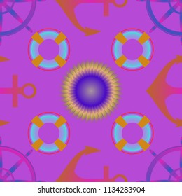 Amazing new multicolored sea lovely fairy anchor background sun seamless.