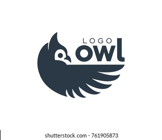 Amazing Owl Bird Modern Simple Logo Eye Catching Dark Blue Animal