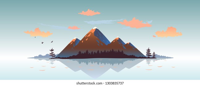 Amazing panoramic view on a cartoon mountains and forest. Vector illustration